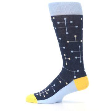 Image of Light Blue Yellow Dot Line Men's Dress Socks (side-2-12)