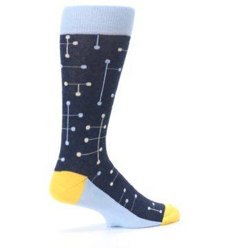 Image of Light Blue Yellow Dot Line Men's Dress Socks (side-1-23)