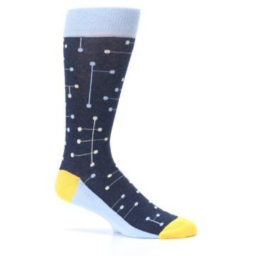 Image of Light Blue Yellow Dot Line Men's Dress Socks (side-1-25)
