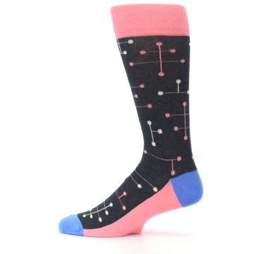 Image of Pink Charcoal White Dot Line Men's Dress Socks (side-2-12)