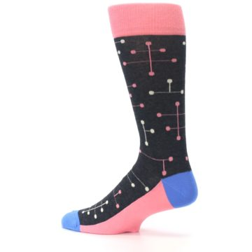 Image of Pink Charcoal White Dot Line Men's Dress Socks (side-2-13)