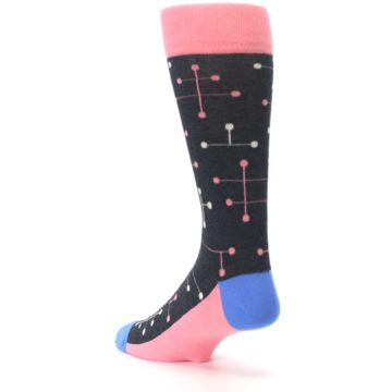 Image of Pink Charcoal White Dot Line Men's Dress Socks (side-2-back-15)
