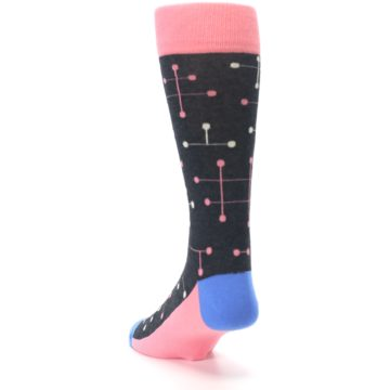 Image of Pink Charcoal White Dot Line Men's Dress Socks (side-2-back-16)
