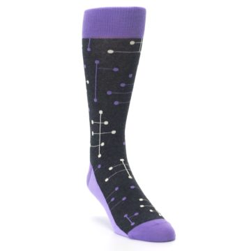 Image of Purple Charcoal Dot Line Men's Dress Socks (side-1-front-02)