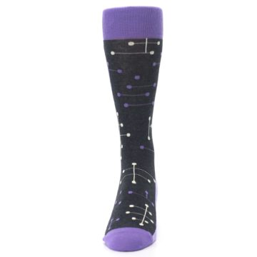 Image of Purple Charcoal Dot Line Men's Dress Socks (front-05)