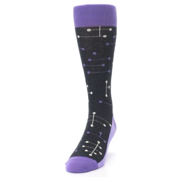 Image of Purple Charcoal Dot Line Men's Dress Socks (side-2-front-06)