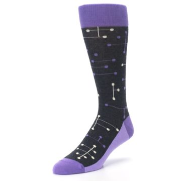 Image of Purple Charcoal Dot Line Men's Dress Socks (side-2-front-08)