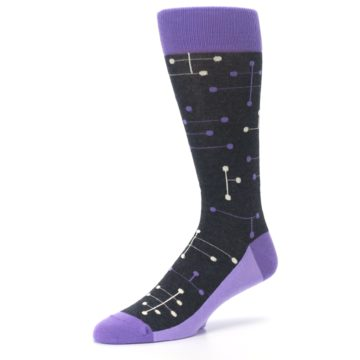 Image of Purple Charcoal Dot Line Men's Dress Socks (side-2-09)