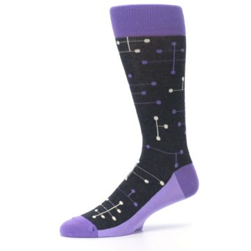 Image of Purple Charcoal Dot Line Men's Dress Socks (side-2-10)