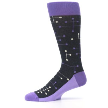 Image of Purple Charcoal Dot Line Men's Dress Socks (side-2-11)