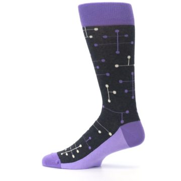 Image of Purple Charcoal Dot Line Men's Dress Socks (side-2-12)