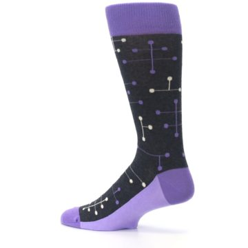 Image of Purple Charcoal Dot Line Men's Dress Socks (side-2-13)