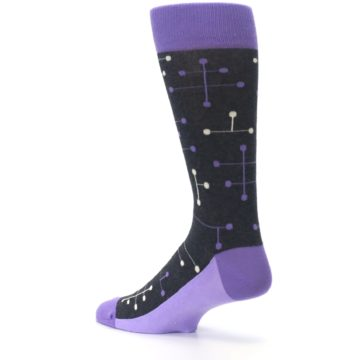 Image of Purple Charcoal Dot Line Men's Dress Socks (side-2-back-14)