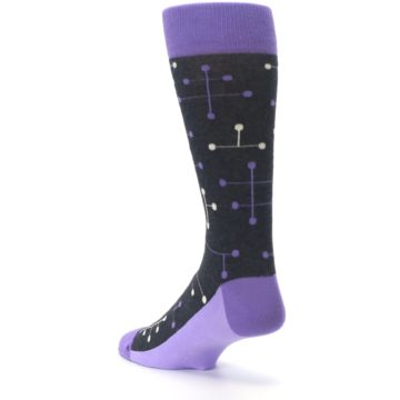 Image of Purple Charcoal Dot Line Men's Dress Socks (side-2-back-15)