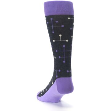 Image of Purple Charcoal Dot Line Men's Dress Socks (side-2-back-16)