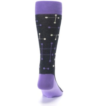 Image of Purple Charcoal Dot Line Men's Dress Socks (back-19)