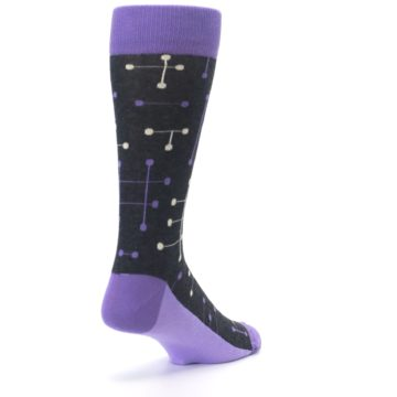 Image of Purple Charcoal Dot Line Men's Dress Socks (side-1-back-21)