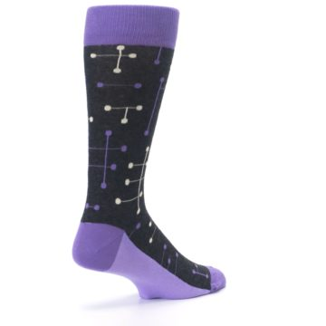 Image of Purple Charcoal Dot Line Men's Dress Socks (side-1-back-22)
