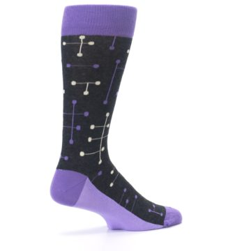Image of Purple Charcoal Dot Line Men's Dress Socks (side-1-23)