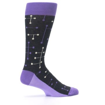 Image of Purple Charcoal Dot Line Men's Dress Socks (side-1-24)