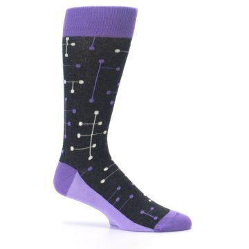 Image of Purple Charcoal Dot Line Men's Dress Socks (side-1-25)