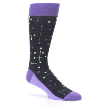Image of Purple Charcoal Dot Line Men's Dress Socks (side-1-26)