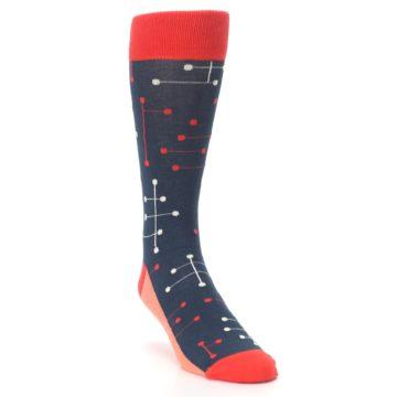 Image of Red Navy Dot Line Men's Dress Socks (side-1-front-02)