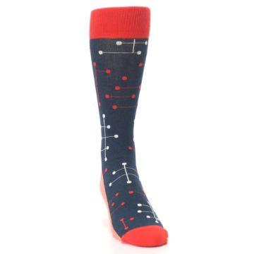 Image of Red Navy Dot Line Men's Dress Socks (side-1-front-03)