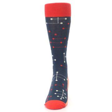Image of Red Navy Dot Line Men's Dress Socks (front-05)