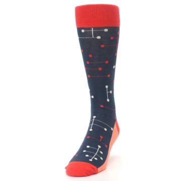 Image of Red Navy Dot Line Men's Dress Socks (side-2-front-06)