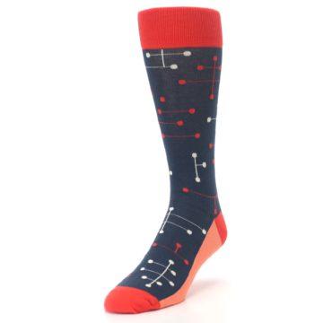 Image of Red Navy Dot Line Men's Dress Socks (side-2-front-07)
