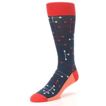 Image of Red Navy Dot Line Men's Dress Socks (side-2-front-08)
