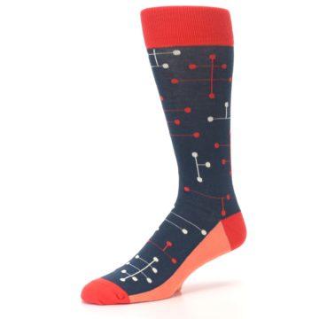 Image of Red Navy Dot Line Men's Dress Socks (side-2-09)