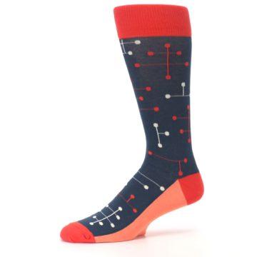 Image of Red Navy Dot Line Men's Dress Socks (side-2-10)