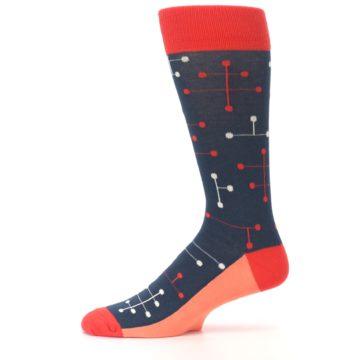 Image of Red Navy Dot Line Men's Dress Socks (side-2-11)