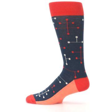 Image of Red Navy Dot Line Men's Dress Socks (side-2-12)