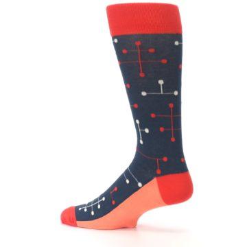 Image of Red Navy Dot Line Men's Dress Socks (side-2-13)