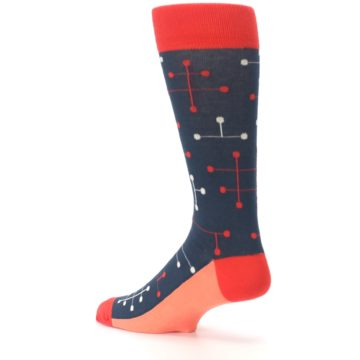 Image of Red Navy Dot Line Men's Dress Socks (side-2-back-14)