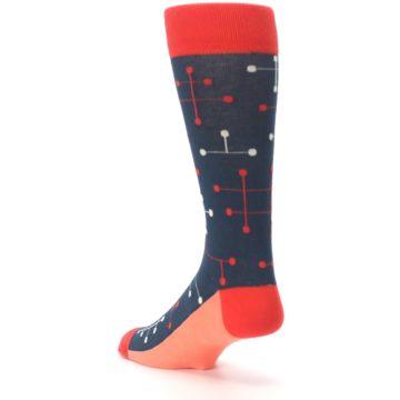 Image of Red Navy Dot Line Men's Dress Socks (side-2-back-15)