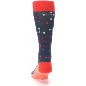 Image of Red Navy Dot Line Men's Dress Socks (back-17)