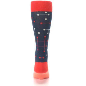 Image of Red Navy Dot Line Men's Dress Socks (back-18)