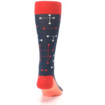 Image of Red Navy Dot Line Men's Dress Socks (back-19)