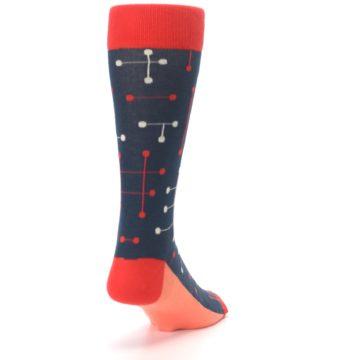 Image of Red Navy Dot Line Men's Dress Socks (side-1-back-20)