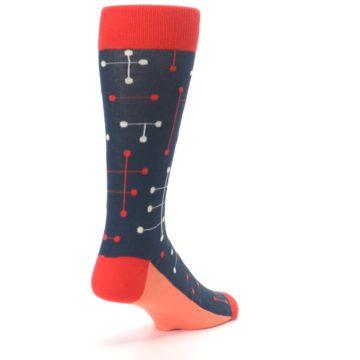 Image of Red Navy Dot Line Men's Dress Socks (side-1-back-21)