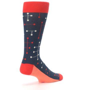 Image of Red Navy Dot Line Men's Dress Socks (side-1-back-22)