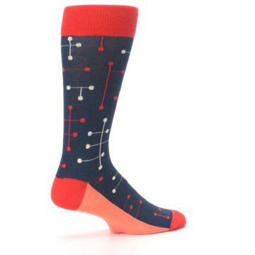 Image of Red Navy Dot Line Men's Dress Socks (side-1-23)