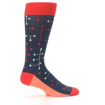 Image of Red Navy Dot Line Men's Dress Socks (side-1-24)