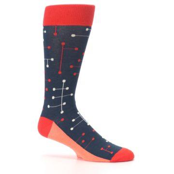 Image of Red Navy Dot Line Men's Dress Socks (side-1-25)
