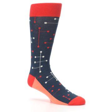 Image of Red Navy Dot Line Men's Dress Socks (side-1-26)