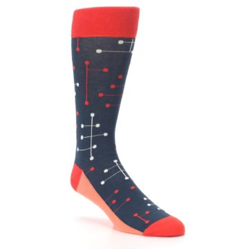 Image of Red Navy Dot Line Men's Dress Socks (side-1-27)